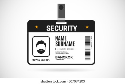 Event Security id card set with lanyard. vector design and text template illustration