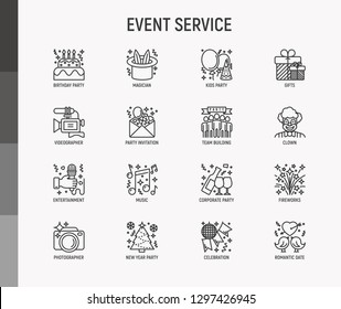 Event services thin line icons set: kids party, gifts, birthday, magician, clown, videographer, party invitation, corporate, fireworks, music, celebration, romatic date. Modern vector illustration.