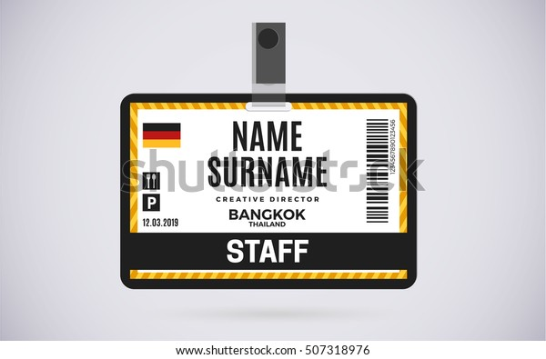 Event Staff Id Card Plastic Badge Stock Vector Royalty Free 507318976