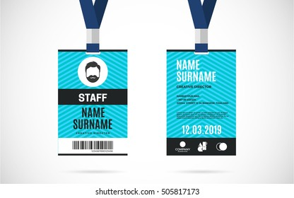 Event staff id card set with lanyard. vector design and text template illustration