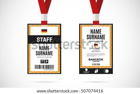 event staff id card set lanyard のベクター画像素材 ロイヤリティ
