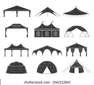 Event tent set. Black fabric shelter silhouette, for party rentals, wedding, outdoor and summer events houses. Vector flat style cartoon tent illustration isolated on white background