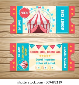 Event tickets for magic show in cartoon style with circus tent flags and editable text vector illustration