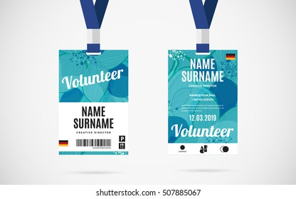 Event volunteer id card set with lanyard. vector design and text template illustration