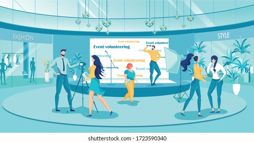 Event Volunteering in Shopping Mall Vector Illustration. Cartoon Man with Microphone on Stage Announce Giveaway, Promote Sale Offer to Shoppers. People Organize Concert in Shopping Center