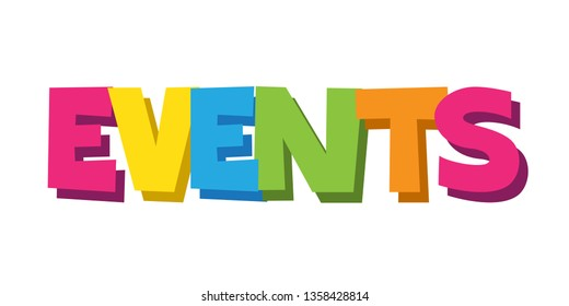 EVENTS colorful two-tone hand lettering banner