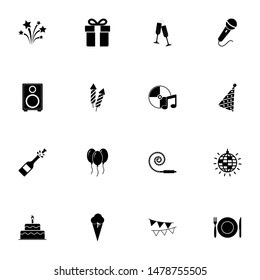 Events icon - Expand to any size - Change to any colour. Perfect Flat Vector Contains such Icons as magic, balloon, fun, event, mask, hat, popcorn, picnic, party, festival, holiday, firework, gift