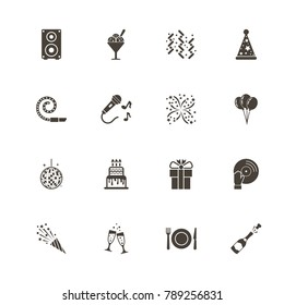Events icons. Perfect pictogram on white background. Flat simple vector icon.