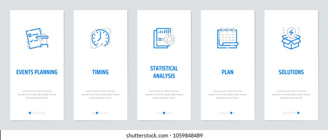 Events planning, Timing, Statistical analysis, Plan, Solutions Vertical Cards with strong metaphors. Template for website design.