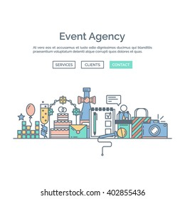 Events and special occasions organization web page design template. Catering service and marketing agency. Graphic event marketing concept, website elements. Outline icons and website elements.