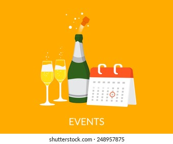 Events vector illustration with calendar with champagne