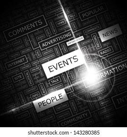 EVENTS. Word cloud concept illustration.
