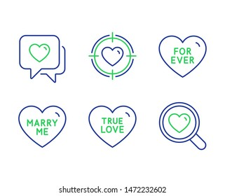 For ever, Heart and Valentine target line icons set. True love, Marry me and Search love signs. Heart in aim, Wedding, Dating service. Love set. Line for ever outline icons. Vector