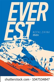 Everest in Himalayas, Nepal, China outdoor adventure poster. Chomolungma mountain illustration.