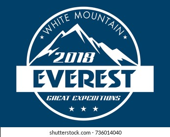 Everest - snowbound Himalayas mountain label. Mountains stamp