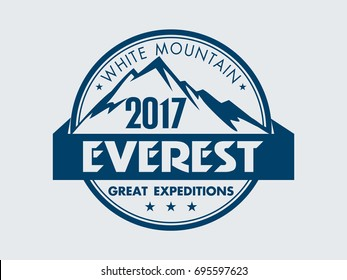 Everest - white mountain. Vector of Mount Everest, himalayas, Nepal