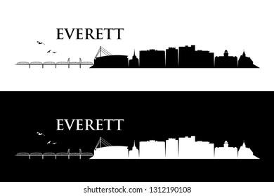 Everett skyline - Washington, United States of America, USA - vector illustration