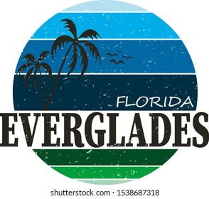 Everglades National Park travel destination. vector shirt logo