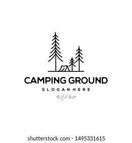 Evergreen Camping Ground Vintage Line Art