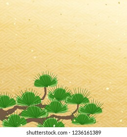Evergreen pine tree and golden pattern  Japanese New Year's Background