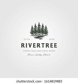 evergreen pine tree logo vintage with river creek vector emblem illustration design