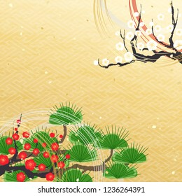 Evergreen pine tree and plum flower on golden pattern  Japanese New Year's Background