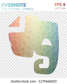 Evernote polygonal symbol, amazing mosaic style symbol. Dazzling low poly style, modern design.