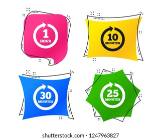 Every 10, 25, 30 minutes and 1 hour icons. Full rotation arrow symbols. Iterative process signs. Geometric colorful tags. Banners with flat icons. Trendy design. Vector