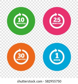 Every 10, 25, 30 minutes and 1 hour icons. Full rotation arrow symbols. Iterative process signs. Round buttons on transparent background. Vector