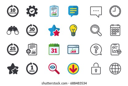 Every 10, 25, 30 minutes and 1 hour icons. Full rotation arrow symbols. Iterative process signs. Chat, Report and Calendar signs. Stars, Statistics and Download icons. Question, Clock and Globe
