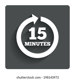 Every 15 minutes sign icon. Full rotation arrow symbol. Gray flat button with shadow. Modern UI website navigation. Vector