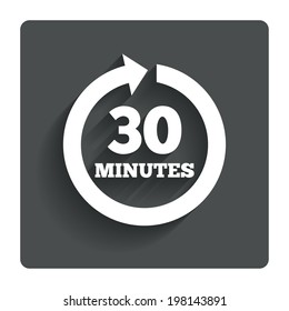Every 30 minutes sign icon. Full rotation arrow symbol. Gray flat button with shadow. Modern UI website navigation. Vector