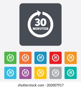 Every 30 minutes sign icon. Full rotation arrow symbol. Rounded squares 11 buttons. Vector