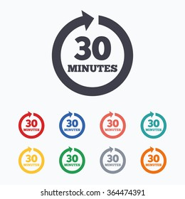 Every 30 minutes sign icon. Full rotation arrow symbol. Colored flat icons on white background.