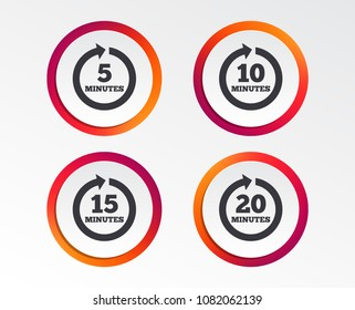 Every 5, 10, 15 and 20 minutes icons. Full rotation arrow symbols. Iterative process signs. Infographic design buttons. Circle templates. Vector