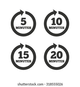 Every 5, 10, 15 and 20 minutes icons. Full rotation arrow symbols. Iterative process signs. Flat icons on white. Vector