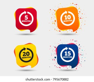 Every 5, 10, 15 and 20 minutes icons. Full rotation arrow symbols. Iterative process signs. Speech bubbles or chat symbols. Colored elements. Vector