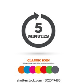 Every 5 minutes sign icon. Full rotation arrow symbol. Classic flat icon. Colored circles. Vector