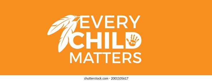 Every Child Matters Logo Design. Vector Illustration. Canadian Indigenous Tragedy Illustration. Banner Design.