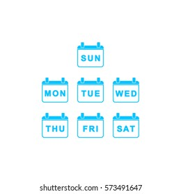 Every Day Week Calendar icon flat. Blue pictogram on white background. Vector illustration symbol