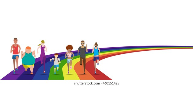 Everybody can run in the rainbow use for running event illustration and avatar vector set