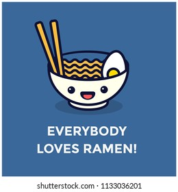 Everybody Loves Ramen Pun Poster Vector Illustration in Flat Style Line Art