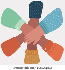 Everybody put his hand on the other hand. People promise each other. Famous gesture: one for all and all for one. Vector cartoon illustration in modern concept