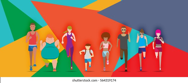Everybody is running with colorful background vector illustration avatar set