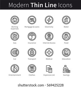Everyday and monthly expenses, family savings and budget. Thin black line art icons. Linear style illustrations isolated on white.