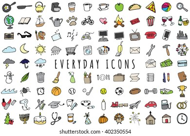 Everyday Objects Icons Set - Sketched Planner and To-Do List Graphics Including Bill Pay, Weather, Chores, Gym, Cooking, Holidays, and Cleaning