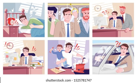 Everyday stress flat vector illustrations set. Tired office manager overworking, boss screaming on employee. Angry driver, stressed father with son cooking cartoon characters. Routine anxiety