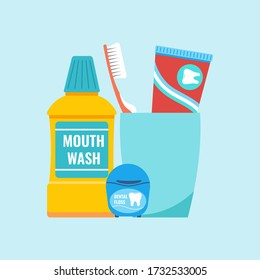 Everyday Teeth hygiene tools concept. Dental care cleaning products - toothbrush and toothpaste in plastic glass with mouthwash and dental floss. Vector illustration in flat cartoon style. - Shutterstock ID 1732533005