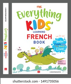 """""""Everything Kids learning French book""""kids book cover design template"""