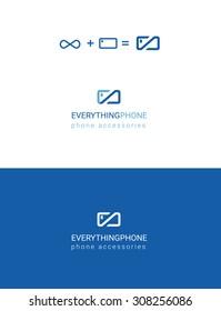 Everything for phone phone accessories line blue symbol modern logo design